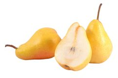 Whole and cut pears on a white Stock Image