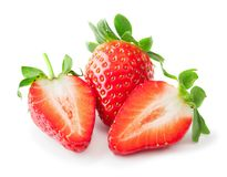 Strawberry isolated on white. Whole and cut strawberries isolated on white background Stock Image