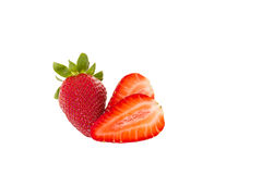 Whole and cut strawberries Stock Photography