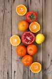 Mixed fruits on wood royalty free stock images
