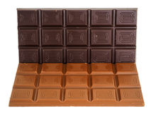 Whole dark and light chocolate bars isolated Stock Photos