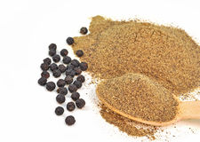Whole an dpowdered black pepper Stock Image