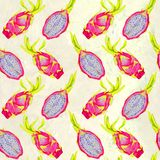 Whole dragon fruit and cut slice on soft yellow background. Whole dragon fruit and cut slice, seamless pattern design, hand painted watercolor illustration, soft Royalty Free Stock Photos