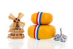 Whole Dutch cheeses Stock Photography