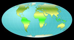 Whole earth globe with heat zones Royalty Free Stock Photography