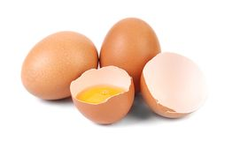 Whole egg and broken egg. Royalty Free Stock Image