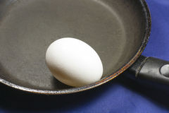 Whole egg. In a frying pan Royalty Free Stock Photography