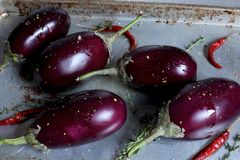 Whole Eggplant on Rustic Cookie Sheet with Red Chilis Royalty Free Stock Photos