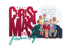 The whole family is together at Christmas stock images