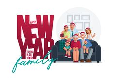 The whole family together in the new year design template stock illustration