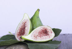 Whole fig cut fig details leaf Stock Photos