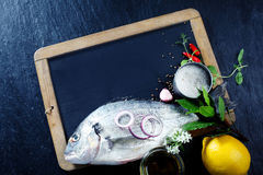 Whole Fish with Herbs and Spices on Chalkboard Royalty Free Stock Images