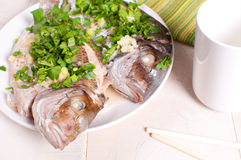 Whole fish perch steamed with scallions and ginger Stock Photo