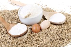 Whole flour with wheat ears and eggs. Royalty Free Stock Photography