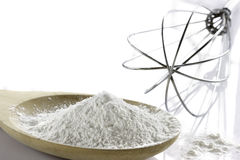Whole flour  with wooden spoon. Stock Images