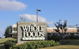 Whole Foods Market. Whole Food Market is an American health food supermarket offering fresh locally sourced produce, meats and groceries, also natural and Royalty Free Stock Image