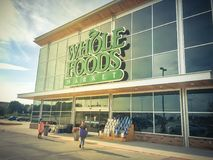 Whole Foods Market store exterior and logo in Irving, Texas, USA royalty free stock photo