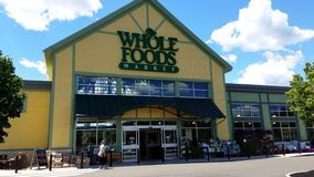 Whole Foods natural organic healthy eating storefront stock video footage