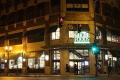 Whole Foods Store in Lincoln Park, Chicago. This Whole Foods store stands at the corner of Sheffield and Fullerton streets in the Lincoln Park neighborhood of Royalty Free Stock Photo