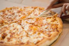 A whole four cheese pizza on a dining table royalty free stock photo