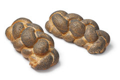 Whole fresh Challah breads with poppy seeds Stock Photo