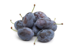 Whole fresh Damson plums Stock Photo