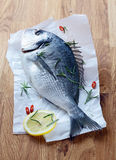 Whole fresh fish. Lying with the tail towards the camera on a sheet of crumpled paper on a wooden tabletop waiting to be cleaned and filleted for cooking Stock Photos