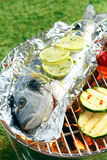 Gilthead breem roasting over a barbecue Stock Images
