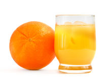 Whole fresh orange and drink Stock Images