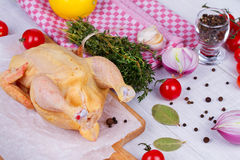 Whole fresh raw chicken prepared for roast with thyme, basil and tomatoes cherry.  Stock Images