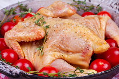 Whole fresh raw chicken prepared for roast with thyme and tomatoes cherry. Stock Photos