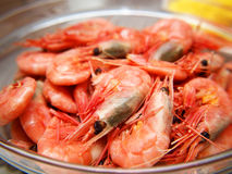 Whole fresh raw prawns. In shell, macro, in a bowl Royalty Free Stock Image