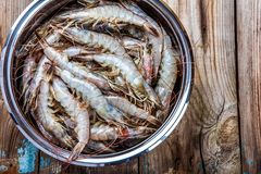 Whole fresh raw shrimps seafood. In bowl ready to cook Royalty Free Stock Photos