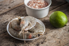 Whole fresh raw shrimps seafood in bowl. Ready to cook Royalty Free Stock Image