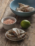 Whole fresh raw shrimps seafood in bowl. Ready to cook Royalty Free Stock Photo