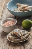 Whole fresh raw shrimps seafood in bowl. Ready to cook Stock Photography