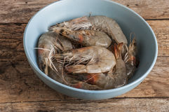 Whole fresh raw shrimps seafood. In bowl ready to cook Royalty Free Stock Photography