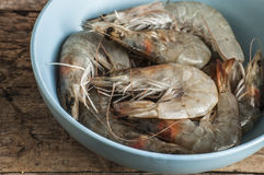 Whole fresh raw shrimps seafood. In bowl ready to cook Stock Photography