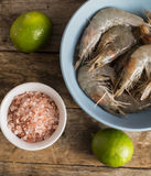 Whole fresh raw shrimps seafood in bowl. Ready to cook Royalty Free Stock Images