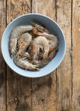 Whole fresh raw shrimps seafood in bowl. Ready to cook Stock Images