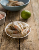 Whole fresh raw shrimps seafood in bowl. Ready to cook Royalty Free Stock Photography