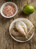 Whole fresh raw shrimps seafood in bowl. Ready to cook Stock Image