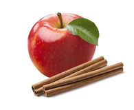 Whole fresh red apple and cinnamon sticks isolated on white. Background as package design element Stock Image