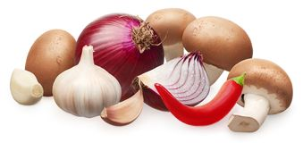 Champignon mushrooms, onion, garlic with cloves and chili pepper royalty free stock photography