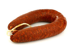 Whole fresh Spanish chorizo sausage Royalty Free Stock Images