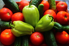 Whole fresh vegetables. On the table are whole fresh vegetables as tomatoes, cucumbers, peppers Stock Images