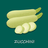Whole and freshly cut pieces of zucchini, template, banner Stock Photos