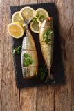 Whole freshly smoked mackerel served with lemons and parsley closeup on a slate board on the table. Vertical top view. Whole freshly smoked mackerel served with stock photography