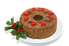 Whole Fruitcake Isolated Stock Image
