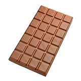 Chocolate bar isolated. Whole full size chocolate bar isolated on white background with clipping path Royalty Free Stock Photo